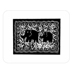 Elephant And Calf Lino Print Double Sided Flano Blanket (Large)