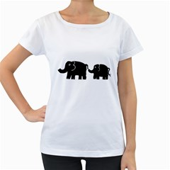 Elephant And Calf Women s Loose-Fit T-Shirt (White)