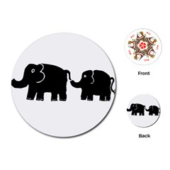 Elephant And Calf Playing Cards (round)