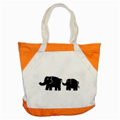 Elephant And Calf Accent Tote Bag
