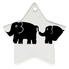 Elephant And Calf Star Ornament (Two Sides)