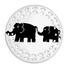 Elephant And Calf Ornament (Round Filigree)