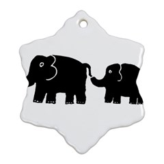 Elephant And Calf Ornament (Snowflake)