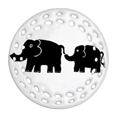Elephant And Calf Round Filigree Ornament (2Side)