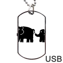 Elephant And Calf Dog Tag Usb Flash (one Side)
