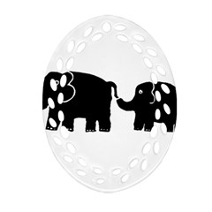 Elephant And Calf Oval Filigree Ornament (2-Side)