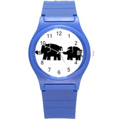 Elephant And Calf Round Plastic Sport Watch (S)