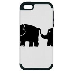 Elephant And Calf Apple iPhone 5 Hardshell Case (PC+Silicone)