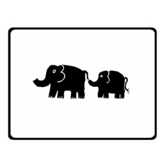 Elephant And Calf Double Sided Fleece Blanket (Small)
