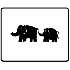 Elephant And Calf Double Sided Fleece Blanket (Medium)