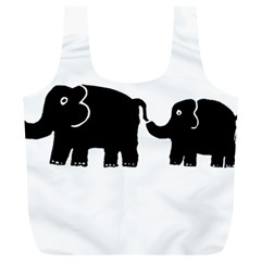 Elephant And Calf Full Print Recycle Bags (L)