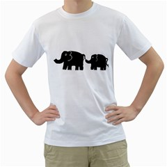 Elephant And Calf Men s T-Shirt (White)