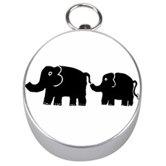 Elephant And Calf Silver Compasses