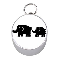 Elephant And Calf Mini Silver Compasses
