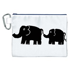 Elephant And Calf Canvas Cosmetic Bag (XXL)