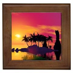Wonderful Sunset Over The Island Framed Tiles