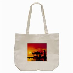Wonderful Sunset Over The Island Tote Bag (cream)