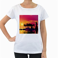 Wonderful Sunset Over The Island Women s Loose-Fit T-Shirt (White)