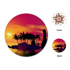 Wonderful Sunset Over The Island Playing Cards (Round)