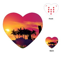 Wonderful Sunset Over The Island Playing Cards (Heart)