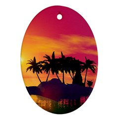 Wonderful Sunset Over The Island Oval Ornament (Two Sides)