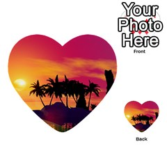 Wonderful Sunset Over The Island Multi Purpose Cards (heart)