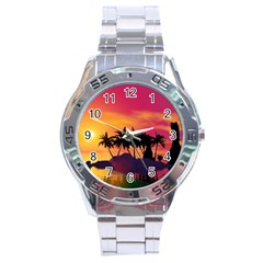 Wonderful Sunset Over The Island Stainless Steel Men s Watch