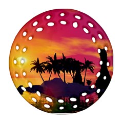 Wonderful Sunset Over The Island Round Filigree Ornament (2Side)