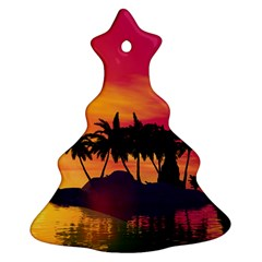 Wonderful Sunset Over The Island Christmas Tree Ornament (2 Sides)