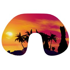 Wonderful Sunset Over The Island Travel Neck Pillows