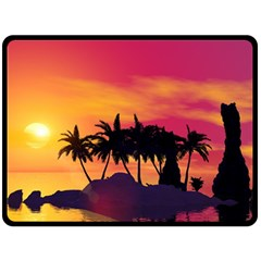Wonderful Sunset Over The Island Double Sided Fleece Blanket (Large)