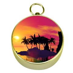 Wonderful Sunset Over The Island Gold Compasses