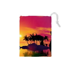 Wonderful Sunset Over The Island Drawstring Pouches (Small)