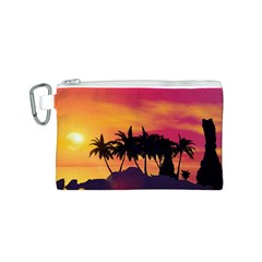 Wonderful Sunset Over The Island Canvas Cosmetic Bag (S)