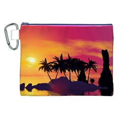 Wonderful Sunset Over The Island Canvas Cosmetic Bag (XXL)