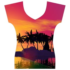 Wonderful Sunset Over The Island Women s V-Neck Cap Sleeve Top