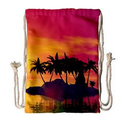 Wonderful Sunset Over The Island Drawstring Bag (large)