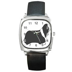 Bearded Collie color silhouette Square Metal Watches
