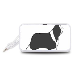 Bearded Collie color silhouette Portable Speaker (White)