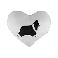 Bearded Collie color silhouette Standard 16  Premium Flano Heart Shape Cushions