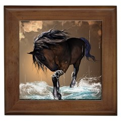 Beautiful Horse With Water Splash Framed Tiles