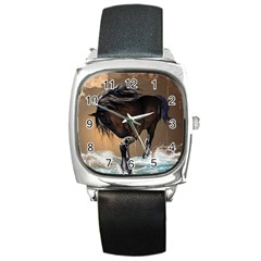 Beautiful Horse With Water Splash Square Metal Watches