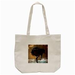 Beautiful Horse With Water Splash Tote Bag (Cream)
