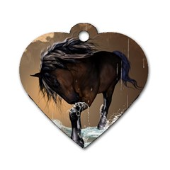 Beautiful Horse With Water Splash Dog Tag Heart (Two Sides)