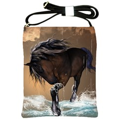 Beautiful Horse With Water Splash Shoulder Sling Bags