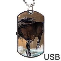 Beautiful Horse With Water Splash Dog Tag USB Flash (One Side)
