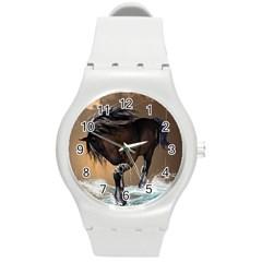 Beautiful Horse With Water Splash Round Plastic Sport Watch (M)