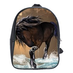 Beautiful Horse With Water Splash School Bags (XL)