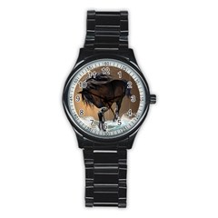 Beautiful Horse With Water Splash Stainless Steel Round Watches