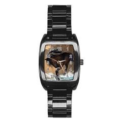 Beautiful Horse With Water Splash Stainless Steel Barrel Watch